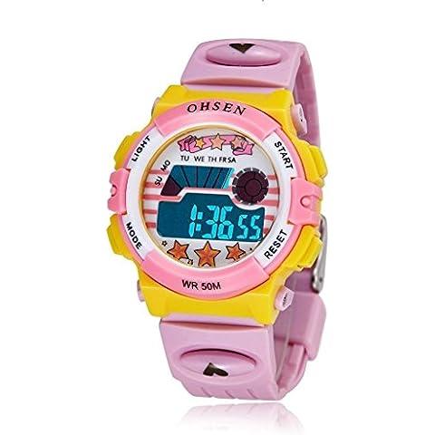 pkaty Kid 's niños niñas LED Digital relojes deporte alarma fecha semana Cronógrafo Multifunción