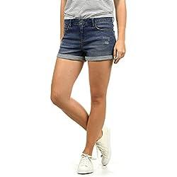 BlendShe Andreja Pantalón Tejano Vaquero Corto Shorts para Mujer Elástico, tamaño:M, Color:Dark Blue Washed (29053)