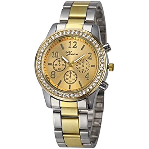 vear Ginevra tre diamanti in acciaio inox orologio da polso, Gold and sliver, Taglia unica - 20 Diamanti Womens Watch