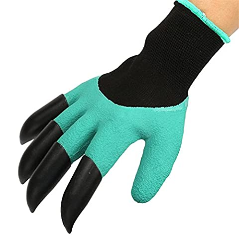 MORESAVE 1 Pair ABS Plastic Claws Gardening Gloves for Digging & Planting Nursery Plants