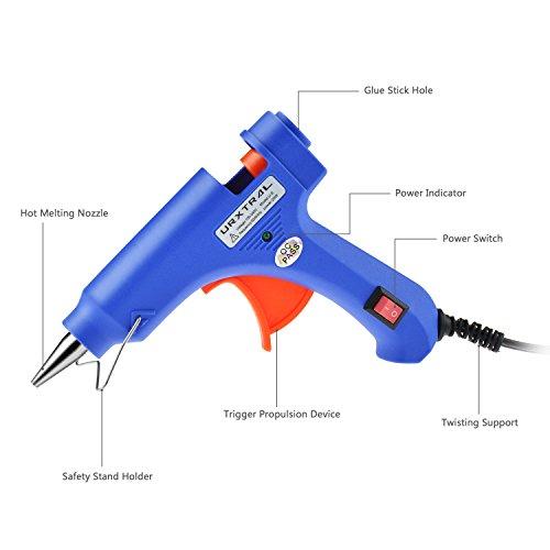 URXTRAL Mini Pistola de silicona on 40 piezas Barras de pegamento Alta temperatura kit de pistola de pegamento una alternativa flexible para pequeños proyectos de bricolaje  empaques  reparaciones rápidas y limpias en casa y oficina (20 vatios  azul)
