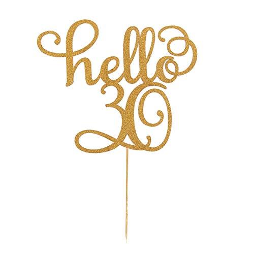 wewwe232783ajshgq Geburtstagskuchenaufsatz, doppelseitig, Goldener Glitzer-Kuchendekoration, 21, 30st, 40st, 50st, 60. Geburtstag Dekoration für Zuhause - Hello30