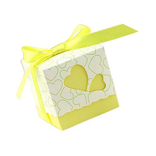 50pz bomboniere scatola cuore porta confetti segnaposto regalo con il nastro raso (giallo)