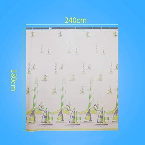Eeayyygch tenda da doccia peva tenda da doccia impermeabile anti muffa ispessimento tenda da bagno telo copriwater tenda con gancio (colore: bianco, dimensione: 180 * 200cm)