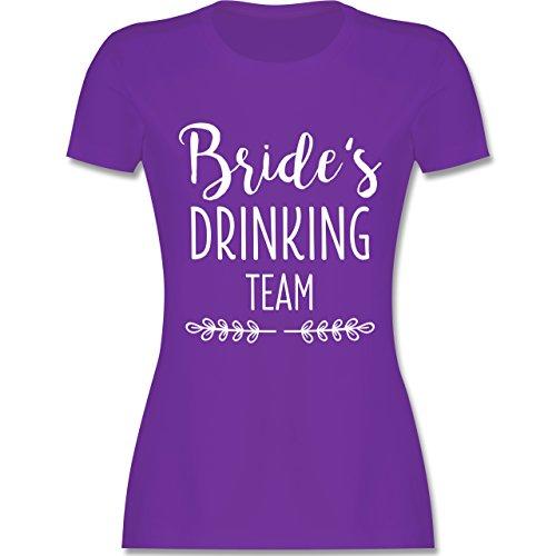 Shirtracer JGA Junggesellinnenabschied - Bride's Drinking Team - Damen T-Shirt Rundhals Lila