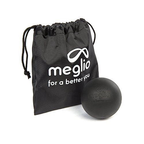 Meglio Lacrosse-Ball (6cm) – Massageball für Selbstmassagen und myofasziale Lösetechniken – Tiefengewebe Massagen durch Triggerpunkt Massagen – Tragetasche inbegriffen (Schwarz)