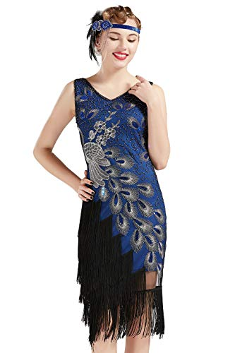 Coucoland 1920s Kleid Damen Pfau Flapper Charleston Kleid V Ausschnitt Great Gatsby Motto Party Damen Fasching Kostüm Kleid (Blau, XL)