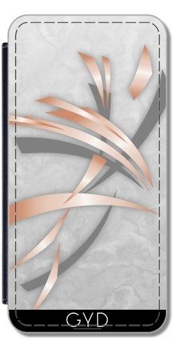 Leder Flip Case Tasche Hülle für Apple iPhone 5/5S - Roségold Grauem Marmor Abstrakt by Nina Baydur Lederoptik