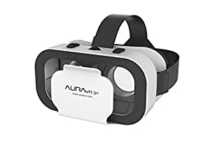 AuraVR Go Virtual Reality Light Weight Plastic VR Headset With Inbuilt Clicker/Touch Button For Smartphones up to 5.5""