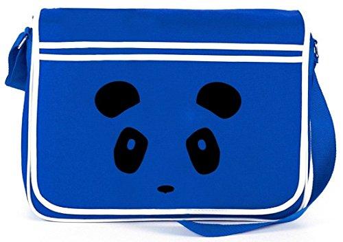 Shirtstreet24, PANDA FACE, Tier Natur Retro Messenger Bag Kuriertasche Umhängetasche Royal Blau