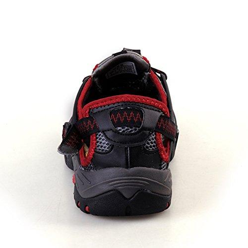 GOMNEAR Herren Wandern Schuhe Weg Sommer Draussen Schnelltrocknend Niedrig Erhebt euch Klettern Schuhe Wasser Sandalen Black & Red