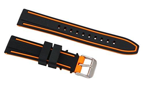 22mm High-End-Zweiton Silikongummi Uhrbändern Taucher Uhrenarmband-Ersatz in schwarz und orange