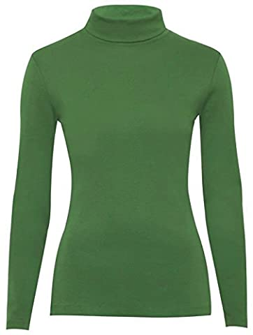 Fashion Valley Womens Plain Long Sleeve Turtle Polo Neck Top Ladies Roll Neck Top Jumper 8-26 UK L/XL 16-18 Jade