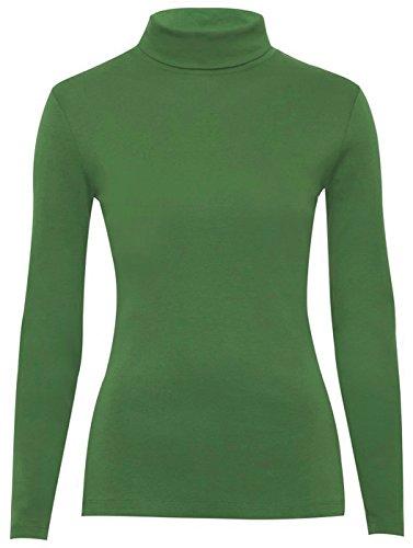 Polo collo Top Elasticizzato Donna Collo Manica Lunga Con Collo Alto Maglione 8–14 Jade Green