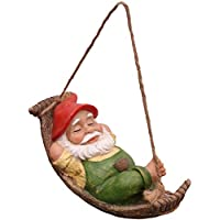 TERESA'S COLLECTIONS Adornos de Jardin Gnomo Decoración, Resina Impermeable, Ornamento Colgante para Césped al Aire Libre o Regalo para Niños, Decoración de Navidad para Casa, Césped