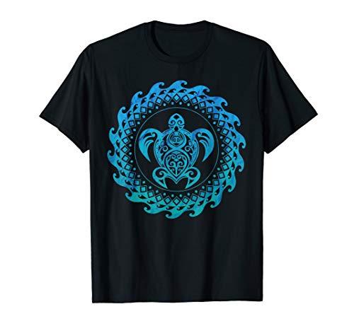 Sea Turtle Hawaii Ocean Blue Tribal Hawaiian Gift T-Shirt T-Shirt