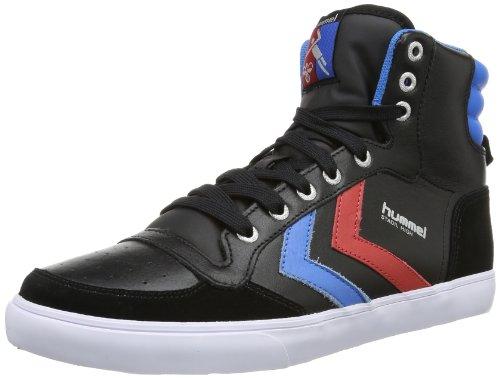 hummel HUMMEL STADIL HIGH, Unisex-Erwachsene Hohe Sneakers, Schwarz (Black/Blue/Red/Gum), 42 EU (8 Erwachsene UK)