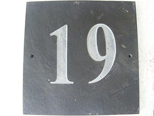 19 NATUREL GRIS ARDOISE NUMÉRO DE MAISON 15 x 15 CM PROFONDEUR NATURELLE AVEC SURFACE GRAVÉE CADEAU MAISON PLAQUE CHAUFFANTE 150 x 150 MM (N ° 19)