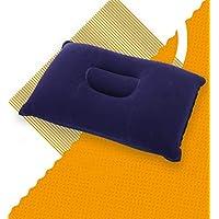 GUOQY Almohada Inflable Ultra Ligera portátil del Aire del PVC de la Almohada para Acampar y Viajar (Azul)
