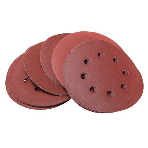 Zoll 5 Schleifpapier Disc (UEETEK Haken und Schleife Schleifen Discs 8 Loch 5 Zoll 40 Schleifpapier Runde Form (50 Pack))