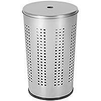 axentia –  Cesta con tapa para la colada, Cesto de metal para ropa sucia - 50 litros, Cubo ropa sucia, Caja de almacenaje – 36/36/58 cm – color plata