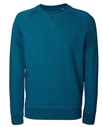 Herren Sweatshirt aus Bio-Baumwolle Mix mit 85% Baumwolle und 15% Polyester, Herren Bio Pullover, Pullover Bio, Herren Bio Sweatshirt,Sweatshirt Baumwolle (Bio) Dark Heaher Teal