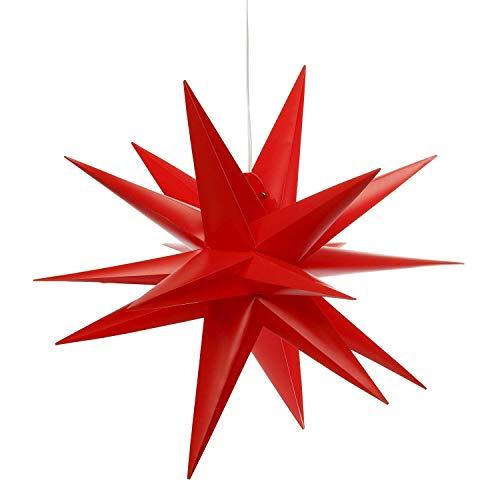 Led Weihnachtsstern Rot, Adventsstern, für Außen, Kunststoff 55cm Mit led lamp 3W