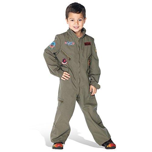 Tomcat Overall Kinderkostüm Flieger Kostümoverall Jungen Pilotenanzug khaki - (Jungen Kostüme Top Gun)