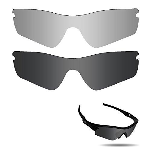 fiskr anti-saltwater Polarisierte Ersatz Gläser für Oakley Radar Path Sonnenbrille 2Paar verpackt, Stealth Black & Metallic Silver