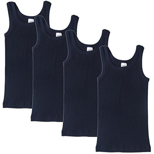 HERMKO 2800 4er Pack Jungen Unterhemd (Weitere Farben), Farbe:Marine, Größe:92
