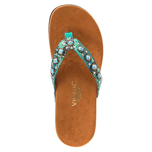 Vionic Womens 340 Floriana Synthetic Sandals Teal Snake