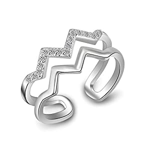 Chandler Popular Women Personality Double Layer Ring Wavy Inlay Crystal Beautiful Girl Hot Fashion Jewelry Popular