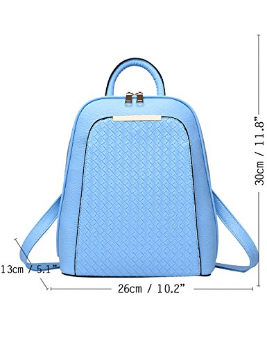 Menschwear PU Zaino Satchel Daypack sacchetto di scuola Argento Leggero Blu