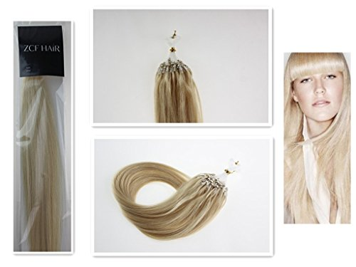 Style 16'' Easy Loops Micro Rings Beads Tipped 100% Real Human Hair Extensions Straight Hair Color 60 Platinum Blonde Beauty Design Salon by COOL-BEAUTY