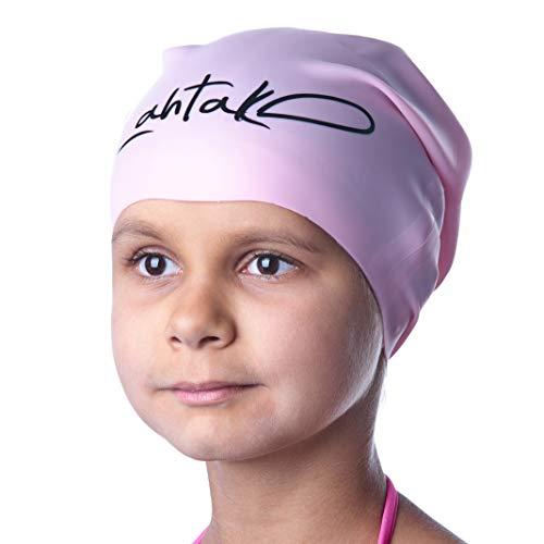 Badekappe Kinder Lange Haare - Badekappe für Mädchen Jungen Kids Teens mit langem lockigem Haar Zöpfe Dreadlocks - 100% Silikon hypoallergene wasserdichte Badehaube (Rose Quartz S)