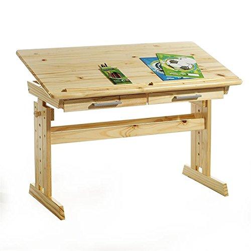 *IDIMEX Bureau Enfant écolier Junior Olivia Table à Dessin réglable en Hauteur et pupitre inclinable avec 2 tiroirs en pin Massif Vernis Naturel Liste de prix