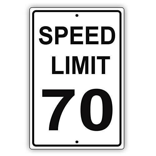 Harvesthouse Speed Limit 70 MPH Miles Per Hour Black Letters Zone Slow Down Speeding Restriction Alert Attention Caution Warning Notice Metal Tin 8x12 Sign Plate by -