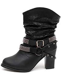 Zapatos Mujer Otoño invierno alto talón,Sonnena ❤️ Botas de mujer otoño invierno ahueca hacia fuera del tobillo Zapatos de tacón alto de mujer Casual Casual