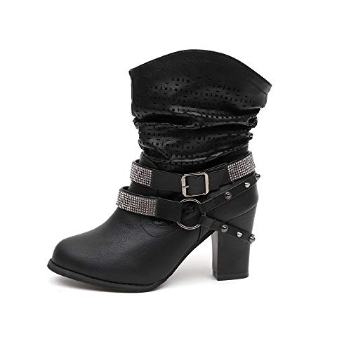 Dorical Damen High Heels Stiefelettenmit Blockabsatz Modische Hohl Strass Halbschaft Kurzschaft Stiefel/Frauen Herbst Übergrößen Boots Party Ankle Abendschuhe Gr 35-43(Schwarz,38 EU)