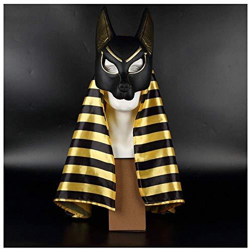 YaPin Ägyptischer Patron Gott, der Gott des Todes, Anubis Maske, Cos Maskerade Performance, Kopftuch
