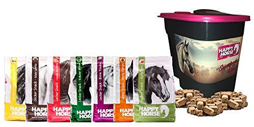 (Happy Horse  Lecker Snack Happy Box No. 1-7 x 1 kg + GRATIS Aufbewahrungsbox. Die Leckerlies für Pferde mit KANNE Fermentgreide. Super Vorteilspreis!)