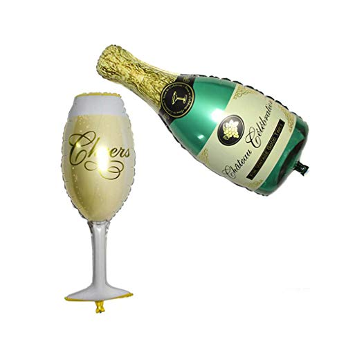 2ST Champagne Cup Bierflasche Folienballons Happy Wedding Neues Jahr-Feier-Party-Ballon Mengonee