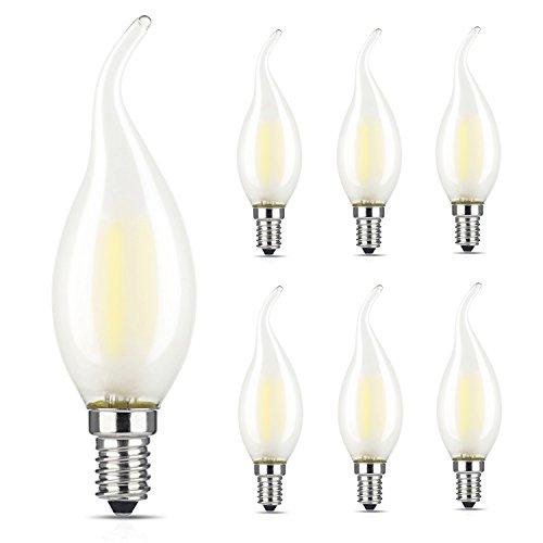 Frosted Led (lediary 6x E14Retrofit Classic LED Leuchtmittel, 6W Frosted Kerze Glühbirnen, ersetzt 60W-Glühlampe, warmweiß, C35Flame Form Gebogene Spitze)