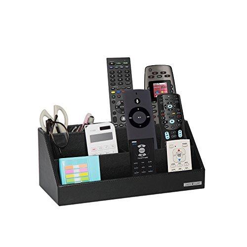 JackCubeDesign Leather Remote Control Escritorio de oficina Stationery Organizer Supplies Caja de almacenamiento Case Caddy Tray Cosmetic Display Organizer Holder Soporte de teléfono (Negro, 30 x 13.5 x 11.9 cm) -: MK279A