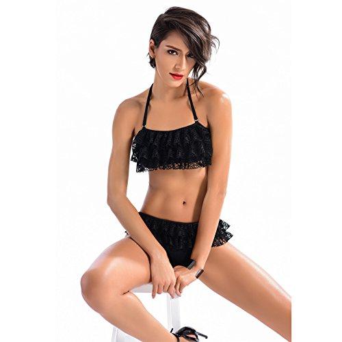 HHBO Damen-Halfter-Bikini, BH Polyester Bikini Split Dreieck Badeanzug Zwei Sets Black