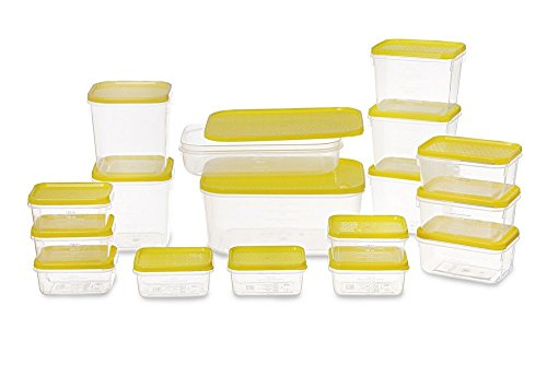 All Time Plastics Polka Container Set, 6.5 Litre, Set of 17, Yellow