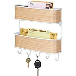 mDesign portachiavi da muro con portaoggetti - portachiavi da parete in metallo robsuto - appendichiavi con eleganti elementi in legno