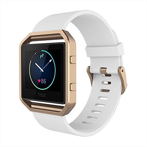 Simpeak Fitbit Blaze Armband mit Rahmen, Silikon Ersatz Band Strap mit Schönen Rahmen Fall für Fitbit Blaze Smart Fitness Watch,Kleine,Weiß Band+Roségold Frame