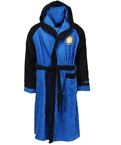 F.C.Internazionale Herren Bademantel mehrfarbig schwarz himmelblau L