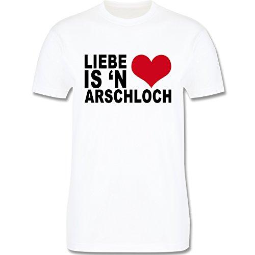 Valentinstag - Liebe is 'n Arschloch Anti-Valentinstag - Herren Premium T-Shirt Weiß